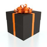 Black gift box. 3D illustration of black gift box with orange ribbon on white background Royalty Free Stock Photos