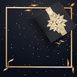 Black Gift Box And Gold Bow Ribbons With Confetti On Dark Texture Background Stock Images
