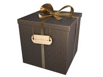 Black gift box with baroque paper. And golden bow, isolated on white Stock Image
