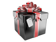 Black gift box with blank gift tag Royalty Free Stock Images