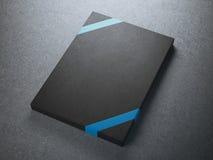Black gift box with blue ribbon Royalty Free Stock Image