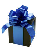 Black gift box with a blue silk ribbon bow. Royalty Free Stock Photography