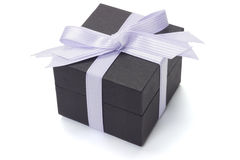 Black gift box with bow ribbon Stock Image