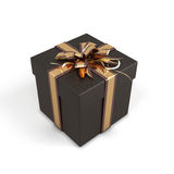 Black gift box with bow. On a white background. 3d render illustration Royalty Free Stock Photos