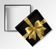 Black gift box with gold ribbon and bow - top view vector illustration. Realistic 3d illustration.  Stock Photos