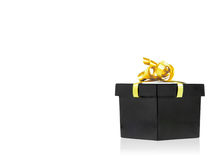 Black Gift Box With Golden Ribbon Stock Photos