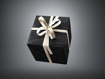 Black gift box with golden ribbon bow and blank business card, isolated on dark, horizontal. 3d render Stock Photography