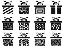 Black gift box icon set. Isolated black gift box icon set from white background royalty free illustration