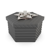 Black gift box isolated on white background. 3d rendering.  Royalty Free Stock Photo