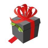 Black gift box. Monster peeking. Ribbons and bows. terrible pres Stock Photos