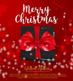 Black gift box with Red bow. Merry Christmas card with snowflakes. Vector illustration Stock Image