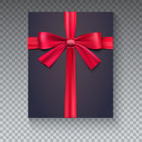 Black gift box with red ribbon  on transparent background, view of the top. Realistic black gift icon with bow. 3D illustration Stock Image
