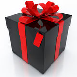 Black Gift Box with Red Ribbon on White Background Royalty Free Stock Photography