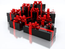 Black Gift Boxes Over White Background 3d Illustration Royalty Free Stock Photography