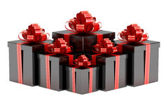 Black Gift Boxes with Red Bow and Ribbon, 3D rendering. On white background Royalty Free Stock Photography