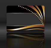 Black gift card with golden waves Stock Photo
