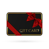 Black gift card template with red ribbon and a bow. Perfect voucher or flyer. Vector illustration Stock Photography