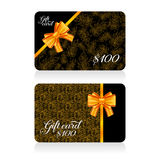 Black gift cards with golden decor feather pattern and bow. Vector illustration for your design Stock Photo
