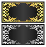 Black gift coupon with gold and silver ornament. Luxury black gift coupon with gold and silver victorian ornament royalty free stock photo