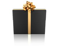 Black gift with golden ribbon Royalty Free Stock Images