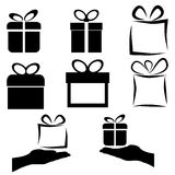 Black gift icon set on white background,  Royalty Free Stock Image