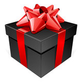 Black gift with red bow Royalty Free Stock Photo