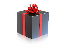 Black gift with a red ribbon Stock Photo