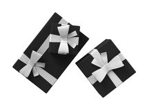 Black Gift Pack Box Set Two. Black gift set box with white ribbon lies on a white background. Collection of three different sizes packaging. Top view 3d render Stock Images
