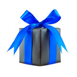 Black gift wrapped present with blue bow Royalty Free Stock Photo