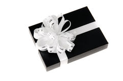 Black giftbox. With whit knot white isolated Royalty Free Stock Photos