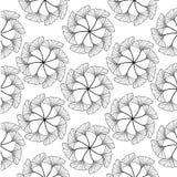 Black gingko leaf circle sketch doodle pattern Royalty Free Stock Image