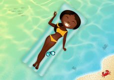 Black girl on airbed Royalty Free Stock Image