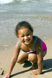 Black  girl on the beach Royalty Free Stock Photo