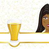Black girl and beer Royalty Free Stock Image