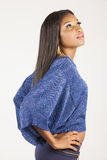 Black girl in blue Royalty Free Stock Photography