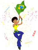 Black Girl Brazil Soccer Fan. With flag royalty free illustration
