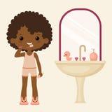 Black girl brushing teeth vector illustration