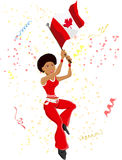 Black Girl Canada Soccer Fan. With flag Stock Illustration