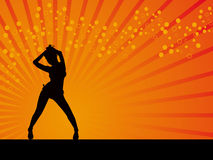 Black girl in disco dancing pose vector background Stock Image