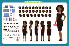 Black Girl in evening dress character creation set. Party woman in black trendy luxury gown. Full length, different views vector illustration