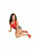 Black girl on floor. Royalty Free Stock Photos