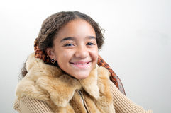 Black girl with fur jacket Royalty Free Stock Photos