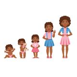 Black Girl Growing Stages With Illustrations In Different Age Royalty Free Stock Photos