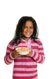 Black girl hold bowl of cereal Royalty Free Stock Images