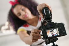 Dslr Camera For Woman Recording Vlog and Tutorial Royalty Free Stock Photo