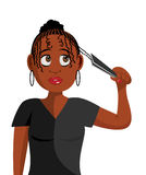 Black girl plaiting hair Stock Photos