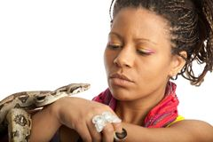 Black girl and python Stock Photo