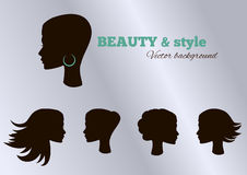 Black girl's facial collection set. Vector set. Stock Photography