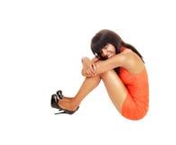 Black girl sleeping on floor. Stock Image