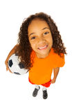 Black girl with soccer ball view from above Royalty Free Stock Image